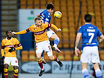 St Johnstone v Motherwell…21.11.20   McDiarmid Park      SPFL<br />Danny McNamara gets above Nathan McGinlay<br />Picture by Graeme Hart.<br />Copyright Perthshire Picture Agency<br />Tel: 01738 623350  Mobile: 07990 594431