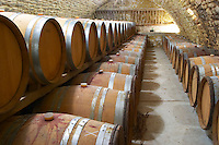 Domaine Ermitage du Pic St Loup, Chateau Ste Agnes. Pic St Loup. Languedoc. Barrel cellar. France. Europe.