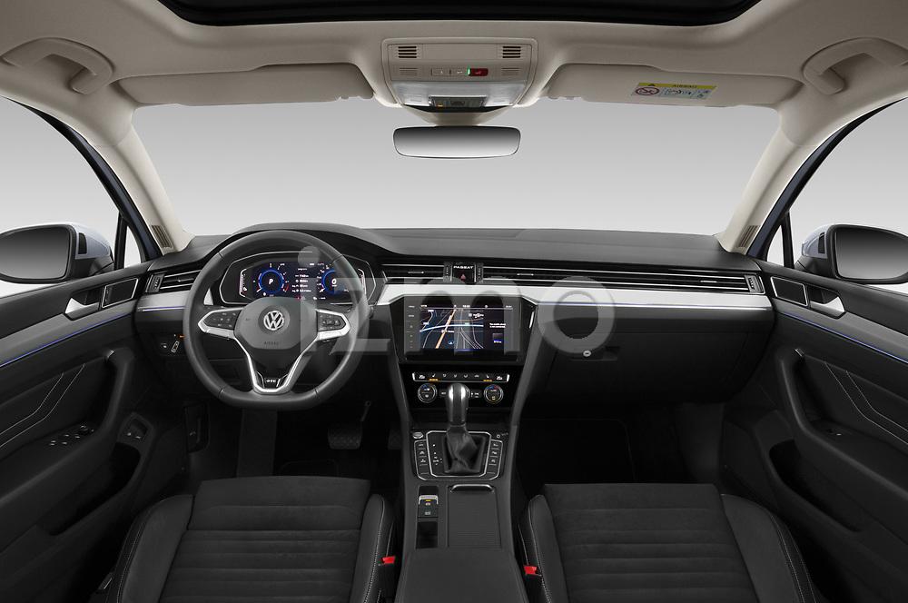 Stock photo of straight dashboard view of 2020 Volkswagen Passat GTE 5 Door Wagon Dashboard
