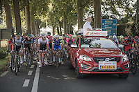 race director Rob Discart setting the tempo in the neutralised section towards the real start<br /> <br /> 12th Eneco Tour 2016 (UCI World Tour)<br /> Stage 6: Riemst › Lanaken (185km)