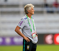 ORLANDO, FL - FEBRUARY 24: Pia Sundhage of Brazil watches her team during a game between Brazil and Canada at Exploria Stadium on February 24, 2021 in Orlando, Florida.