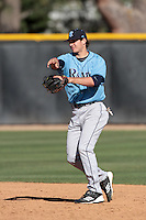 Pat Fortunato #24 of the Rhode Island Rams makes a throw against the Cal State Northridge Matadors at Matador Field on March 14, 2012 in Northridge,California. Rhode Island defeated Cal State Northridge 10-8.(Larry Goren/Four Seam Images)