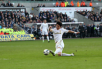 Pictured: Swansea's Ki Sung Yeung came on late in the second half for Swansea andhad this shot<br />