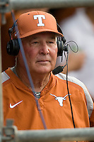 Texas Longhorns coach Augie Garrido against the Texas A&M Aggies in NCAA Big XII Conference baseball on May 21, 2011 at Disch Falk Field in Austin, Texas. (Photo by Andrew Woolley / Four Seam Images)