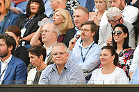 January 20, 2019: The Australian Prime Minister Scott Morrison watches the action during a match between 3rd seed Roger Federer of Switzerland and 14th seed Stefanos Tsitsipas of Greece in the fourth round on day seven of the 2019 Australian Open Grand Slam tennis tournament in Melbourne, Australia. Photo Sydney Low