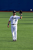 Stephen Dezzi (19) of the Hillsboro Hops plays catch prior to a game against the Tri-City Dust Devils at Ron Tonkin Field in Hillsboro, Oregon on August 24, 2015.  Tri-City defeated Hillsboro 5-1. (Ronnie Allen/Four Seam Images)