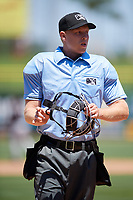 Home plate umpire Mike Carroll during a game between the Jupiter Hammerheads and the Clearwater Threshers on April 11, 2018 at Spectrum Field in Clearwater, Florida.  Jupiter defeated Clearwater 6-4.  (Mike Janes/Four Seam Images)