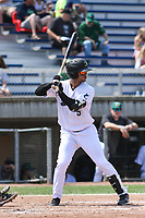 Beloit Snappers outfielder Victor Victor Mesa (5) at bat during a game against the Quad Cities River Bandits on July 18, 2021 at Pohlman Field in Beloit, Wisconsin.  (Brad Krause/Four Seam Images)