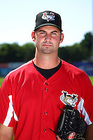 Tri-City ValleyCats pitcher Travis Smink #35 poses for a photo before a game against the Batavia Muckdogs at Dwyer Stadium on July 15, 2011 in Batavia, New York.  Batavia defeated Tri-City 4-3.  (Mike Janes/Four Seam Images)