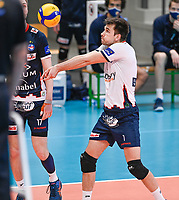 Belgian libero Dennis Deroey of Roeselare  pictured during a Volleyball game between Knack Volley Roeselare and Greenyard Maaseik , the third game in a best of five in the play offs in the 2020-2021 season , saturday 10 th April 2020 at the Schiervelde international Sportshall in Roeselare  , Belgium  .  PHOTO SPORTPIX.BE   DAVID CATRY