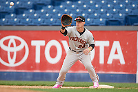 Frederick Keys first baseman Steve Laurino (28) stretches for a throw during the second game of a doubleheader against the Wilmington Blue Rocks on May 14, 2017 at Daniel S. Frawley Stadium in Wilmington, Delaware.  Wilmington defeated Frederick 3-1.  (Mike Janes/Four Seam Images)
