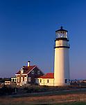 Cape Cod National Seashore, MA: Highland Light (Cape Cod Light 1857) at North Truro in evening light