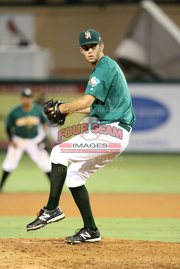 Kieran Lovegrove #9 of Team South Africa pitches during a game against Team Israel at Roger Dean Stadium on September 19, 2012 in Jupiter, Florida. Team Israel defeated Team South Africa 7-3.  (Stacy Jo Grant/Four Seam Images).
