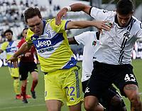 22nd September 2021; Picco Stadium, La Spezia, Italy; Serie A football, Spezia FC versus Juventus  FC: Federico  Chiesa of Juventus and Dimitrios Nikolaou of Spezia