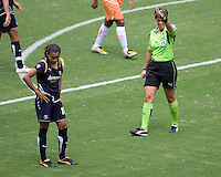 LA Sol's Marta shows disgust with a call from referee Kari Seitz during the WPS Championship match. The Sky Blue FC defeated the LA Sol 1-0 to win the WPS Final Championship match at Home Depot Center stadium in Carson, California on Saturday, August 22, 2009...