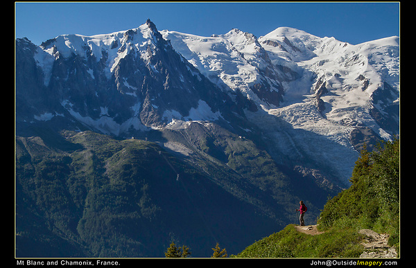 France, Chamonix.  <br /> Wait for your hiking partner to get to the perfect spot. I've hiked and climbed most of my life, to be hiking the Balcony Sud trail on a cloudless day is perfection. Mount Blanc is a formidable backdrop.