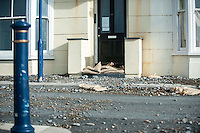 Aberystwyth, Wales, UK. Tuesday 09 February 2016<br />Pictured: A pile of debris on the coastal road.<br />Re: The clean up begins in Aberystwyth, west Wales after storm Imogen hit parts of the UK.