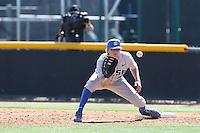 Dalton Kelly (10) of the UC Santa Barbara Gouchos takes a throw at first base during a game against the Cal State Northridge Matadors at Matador Field on April 10, 2015 in Northridge, California. UC Santa Barbara defeated Cal State Northridge, 7-4. (Larry Goren/Four Seam Images)