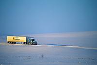 Lynden transport semi truck hauls supplies to prudhoe bay oil fields, James Dalton Highway, Brooks Range, Arctic, Alaska