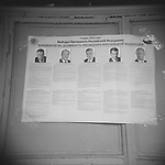 List of presidential candidates in the polling station. March, 4th. Moscow. Russia.