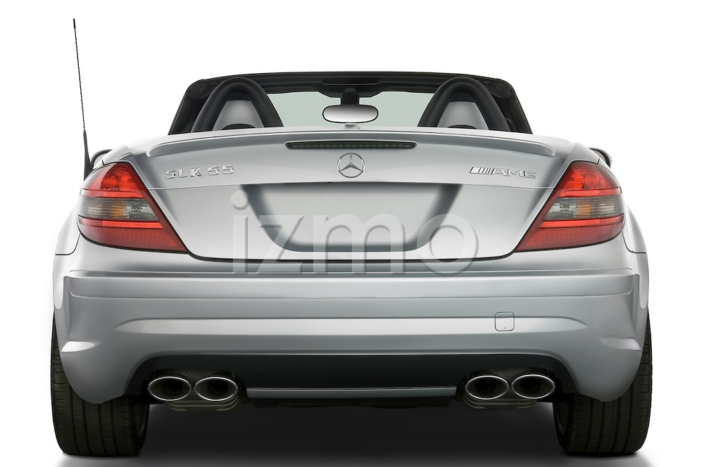 Straight rear view of a Mercedes Benz SLK Class sports car