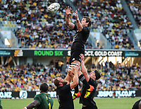 25th September 2021; Townsville, Gold Coast, Australia;  Ethan Blackadder takes the lineout ball. All Blacks versus Springboks. The Rugby Championship. 100th Rugby Union test match between New Zealand and South Africa.