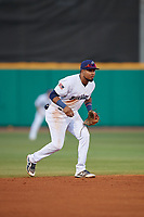 Pensacola Blue Wahoos shortstop Luis Arraez (1) during a Southern League game against the Biloxi Shuckers on May 3, 2019 at Admiral Fetterman Field in Pensacola, Florida.  Pensacola defeated Biloxi 10-8.  (Mike Janes/Four Seam Images)