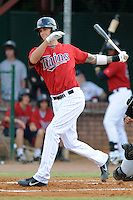 Elizabethton Twins first baseman Rory Rhodes #33 swings at a pitch during a game against the Bristol White Sox at Joe O'Brien Field on June 25, 2012 in Elizabethton, Tennessee. The Twins defeated the White Sox 9-1. (Tony Farlow/Four Seam Images).