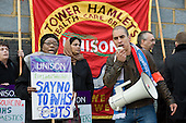 Members of Unison East London Mental Health Branch protest outside East London NHS Foundation Trust against privatisation of domestic, catering and portering services, and cuts in nursing staff.