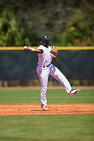 Eastern Michigan Eagles shortstop Marquise Gill (4) throws to first base during a game against the Dartmouth Big Green on February 25, 2017 at North Charlotte Regional Park in Port Charlotte, Florida.  Dartmouth defeated Eastern Michigan 8-4.  (Mike Janes/Four Seam Images)