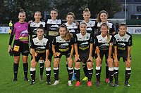 Aalst's goalkeeper Silke Baccarne (1) , Aalst's forward Anke Vanhooren (7) , Aalst's defender Annelies Van Loock (9) , Aalst's defender Jana Van Der Biest (20) , Aalst's midfielder Margaux Van Ackere (37) , Aalst's midfielder Laurence Marchal (31) and Aalst's defender Lieselot De Kegel (15) , Aalst's defender Tiffanie Vanderdonckt (5) , Aalst's forward Stephanie Van Gils (27) , Aalst's defender Chloe Van Mingeroet (17) , Aalst's forward Anaelle Wiard (16)<br /> <br />  pictured during a female soccer game between  AA Gent Ladies and Eendracht Aalst on the second matchday of the 2020 - 2021 season of Belgian Scooore Womens SuperLeague , friday 4 th of september 2020  in Oostakker , Belgium . PHOTO SPORTPIX.BE | SPP | STIJN AUDOOREN