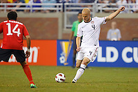 7 June 2011: USA Men's National Team midfielder Michael Bradley (4) during the CONCACAF soccer match between USA and Canada at Ford Field Detroit, Michigan. USA won 2-0.
