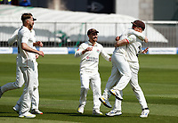 27th May 2021; Emirates Old Trafford, Manchester, Lancashire, England; County Championship Cricket, Lancashire versus Yorkshire, Day 1; First blood to Lancashire as  Danny Lamb celebrates with Alex Davies after he catches Adam Lythoff the bowling of Tom Bailey