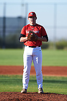 John Blanchard III (45), from Amite, Louisiana, while playing for the Cardinals during the Under Armour Baseball Factory Recruiting Classic at Red Mountain Baseball Complex on December 28, 2017 in Mesa, Arizona. (Zachary Lucy/Four Seam Images)