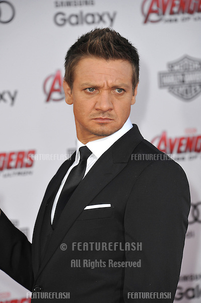 """Jeremy Renner at the world premiere of his movie """"Avengers: Age of Ultron"""" at the Dolby Theatre, Hollywood.<br /> April 13, 2015  Los Angeles, CA<br /> Picture: Paul Smith / Featureflash"""