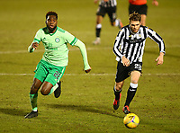 10th February 2021; St Mirren Park, Paisley, Renfrewshire, Scotland; Scottish Premiership Football, St Mirren versus Celtic; Marcus Fraser of St Mirren and Odsonne Edouard of Celtic chase for the through ball