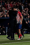 Atletico de Madrid's coach Diego Pablo Simeone (L) and Diego Costa (R) during UEFA Champions League match, Round of 16, 1st leg between Atletico de Madrid and Juventus at Wanda Metropolitano Stadium in Madrid, Spain. February 20, 2019. (ALTERPHOTOS/A. Perez Meca)