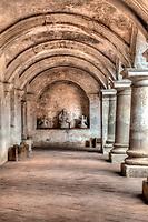 Antigua, Guatemala.  Capuchinas Convent, Built 1736.  Ground-level Corridor around inner Courtyard.