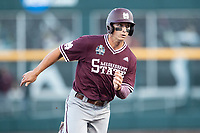Mississippi State Bulldogs second baseman Justin Foscue (17) runs to third base during Game 10 of the NCAA College World Series against the Louisville Cardinals on June 20, 2019 at TD Ameritrade Park in Omaha, Nebraska. Louisville defeated Mississippi State 4-3. (Andrew Woolley/Four Seam Images)