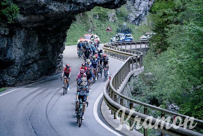 Team BikeExchange leading the pelotn up the Passo di San Valentino (cat.1)<br /> <br /> 104th Giro d'Italia 2021 (2.UWT)<br /> Stage 17 from Canazei to Sega di Ala (193km)<br /> <br /> ©kramon