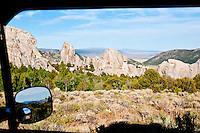 View through camper window of the granite spires and domes of The City of Rocks National Reserve, Idaho.