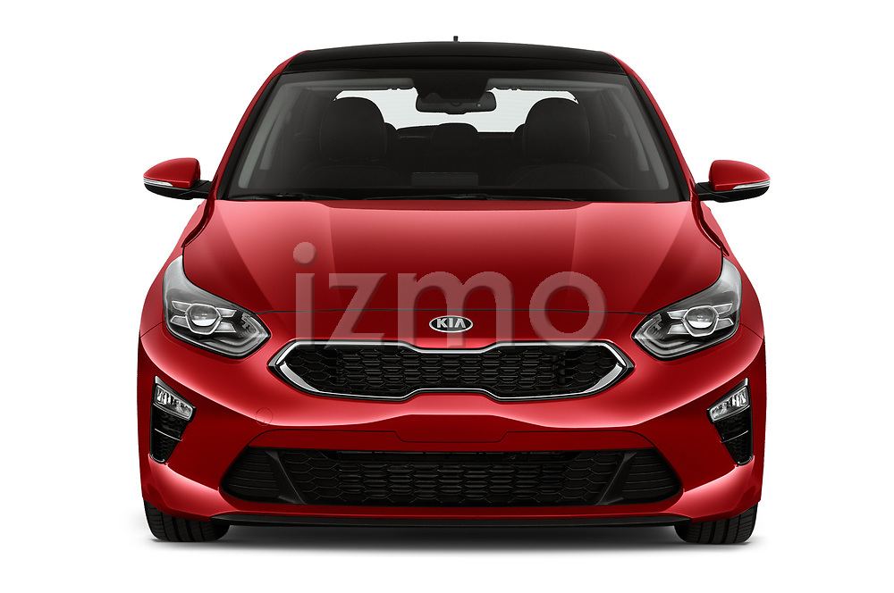 Car photography straight front view of a 2019 KIA Ceed More 5 Door Hatchback Front View