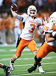 Oklahoma State Cowboys quarterback Brandon Weeden (3) in action during the game between the Oklahoma State Cowboys and the University of Texas in Austin Texas Longhorns at the Daryl K. Royal- Texas Memorial Stadium in Austin, Texas. The Oklahoma State Cowboys defeated the Texas Longhorns 33 to 16.