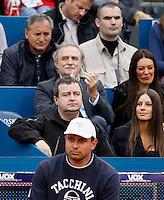 Tenis, Serbia Open 2011.Final.Novak Djokovic (SRB) Vs. Feliciano Lopez (ESP).Serbia'a vice Prime Minister  Ivica Dacic and above  is actor Laza Ristovski.Beograd, 01.05.2011..foto: Srdjan Stevanovic