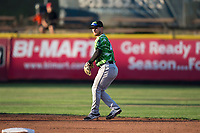 Eugene Emeralds second baseman Levi Jordan (20) prepares to make a throw to first base during a Northwest League game against the Salem-Keizer Volcanoes at Volcanoes Stadium on August 31, 2018 in Keizer, Oregon. The Eugene Emeralds defeated the Salem-Keizer Volcanoes by a score of 7-3. (Zachary Lucy/Four Seam Images)
