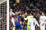 Real Madrid's Raphael Varane, Keylor Navas, Sergio Ramos, FC Barcelona's Javier Mascherano during spanish La Liga match between Futbol Club Barcelona and Real Madrid  at Camp Nou Stadium in Barcelona , Spain. Decembe r03, 2016. (ALTERPHOTOS/Rodrigo Jimenez)