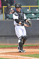 Clinton LumberKings catcher Yojhan Quevedo (11) in action during a game against the Lansing Lugnuts at Ashford University Field on May 9, 2017 in Clinton, Iowa.  The Lugnuts won 11-6.  (Dennis Hubbard/Four Seam Images)