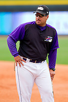 Winston-Salem Dash manager Julio Vinas #38 prior to the game against the Lynchburg Hillcats at BB&T Ballpark on May 7, 2011 in Winston-Salem, North Carolina.   Photo by Brian Westerholt / Four Seam Images