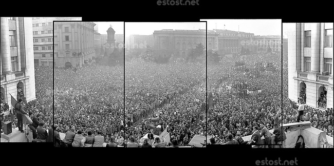 """ROMANIA, Revolution Square, Bucharest, 22.121982, 3.30 pm.The crowd and a flag with """"the hole"""" on a pole..© Andrei Pandele / EST&OST"""
