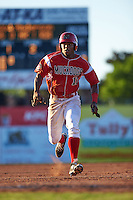Batavia Muckdogs outfielder Stone Garrett (11) running the bases during a game against the Mahoning Valley Scrappers on June 23, 2015 at Dwyer Stadium in Batavia, New York.  Mahoning Valley defeated Batavia 11-2.  (Mike Janes/Four Seam Images)